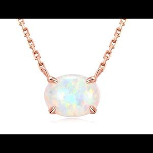 Jewelry - 925 Sterling Silver, Small Dainty Oval Opal